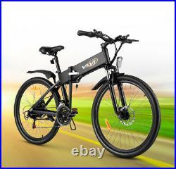 VIVI 26'' Folding Mountain Bike Electric Bicycle Ebike 20Mph Shinmano 21Speed
