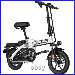 White Electric Bike for Adults 48v 14Ah Ebike Folding Electric Bike Bicycle 350w