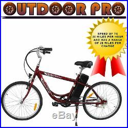YT Electric Bicycle Power Bike 24V 250W Red E-Bike Assembled in USA